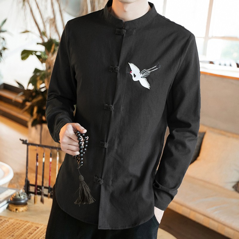 Sole Flying Crane Embroidery Frog Button Shirt - Black