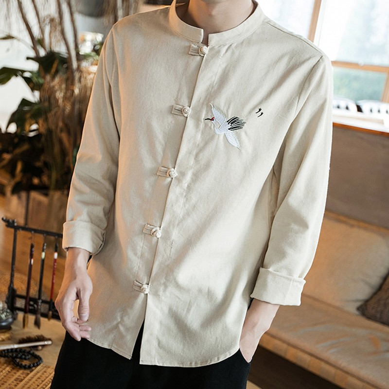 Sole Flying Crane Embroidery Frog Button Shirt - Beige