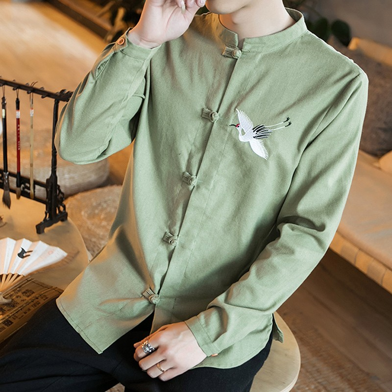 Sole Flying Crane Embroidery Frog Button Shirt - Green