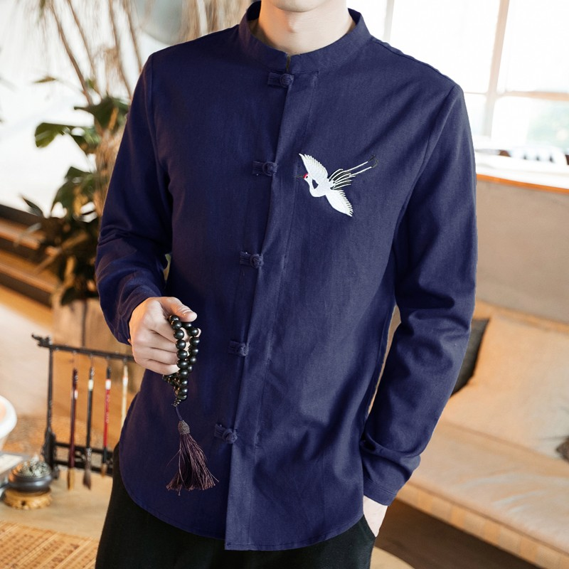 Sole Flying Crane Embroidery Frog Button Shirt - Navy
