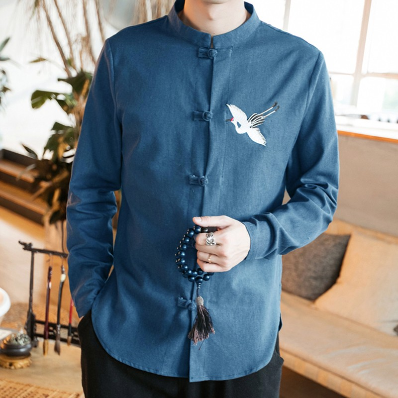 Sole Flying Crane Embroidery Frog Button Shirt - Blue