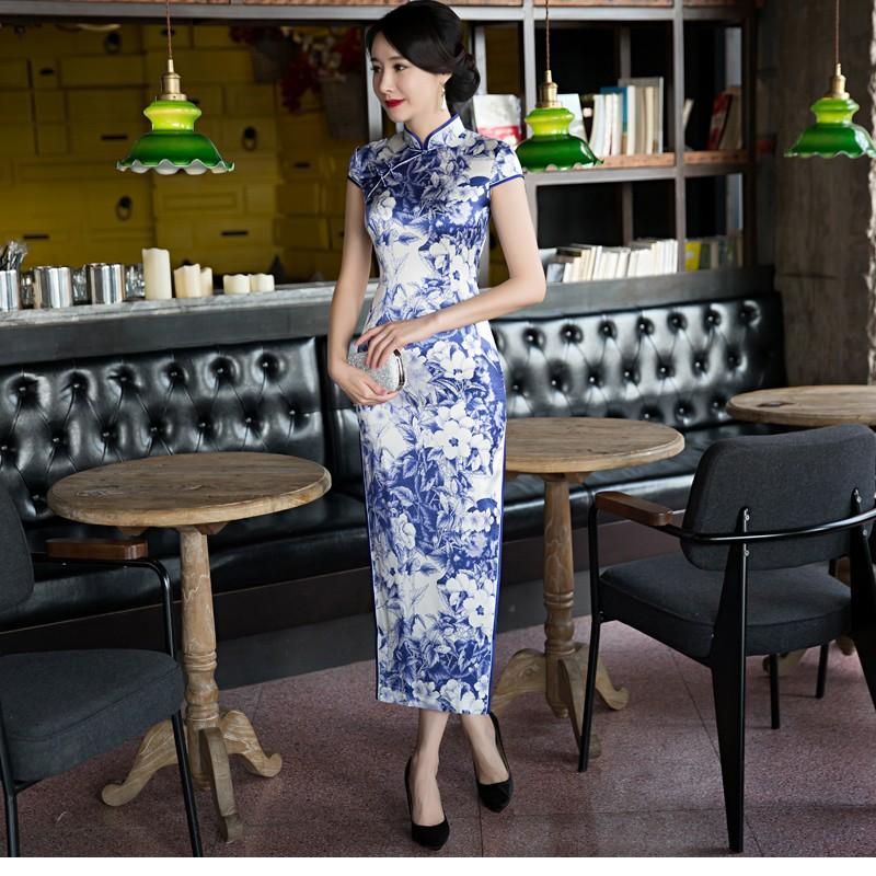 Fascinating Floral Print Silk Dress Qipao Cheongsam