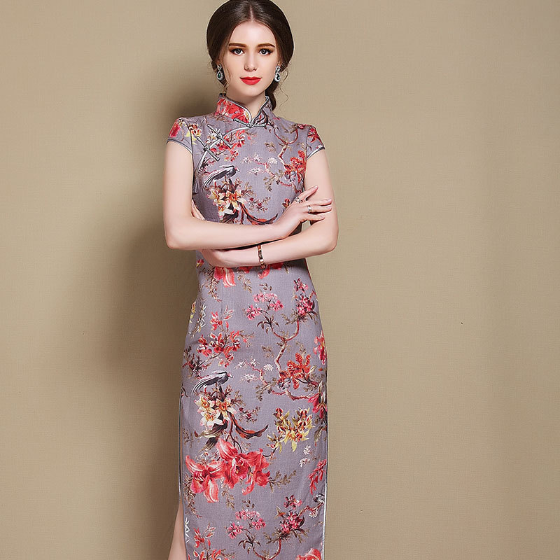 Joyful Birds Print Chinese Dress Qipao Cheongsam