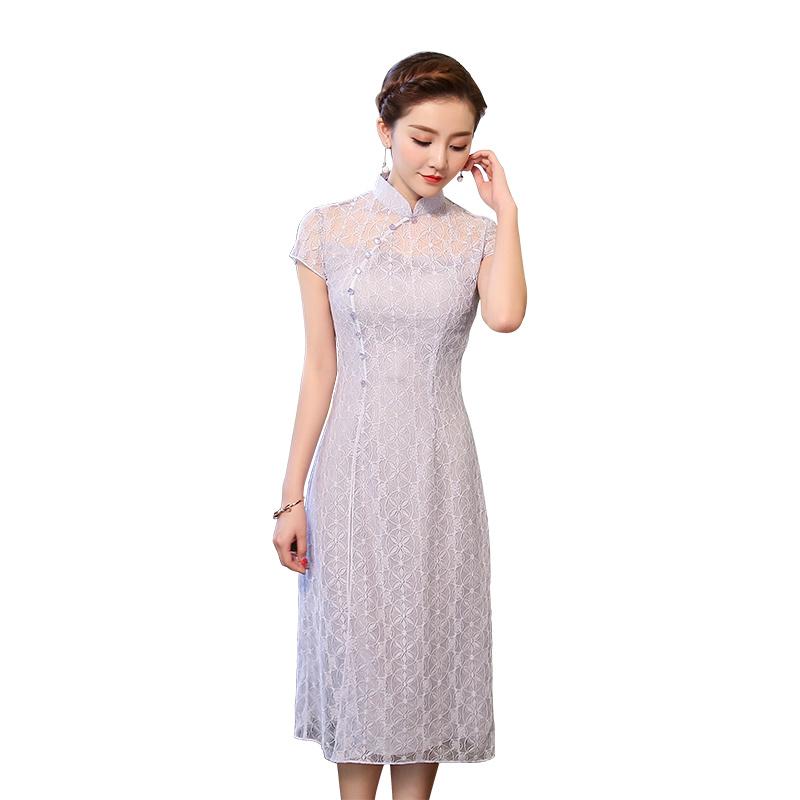 Modern Light Purple Lace Qipao Cheongsam Dress