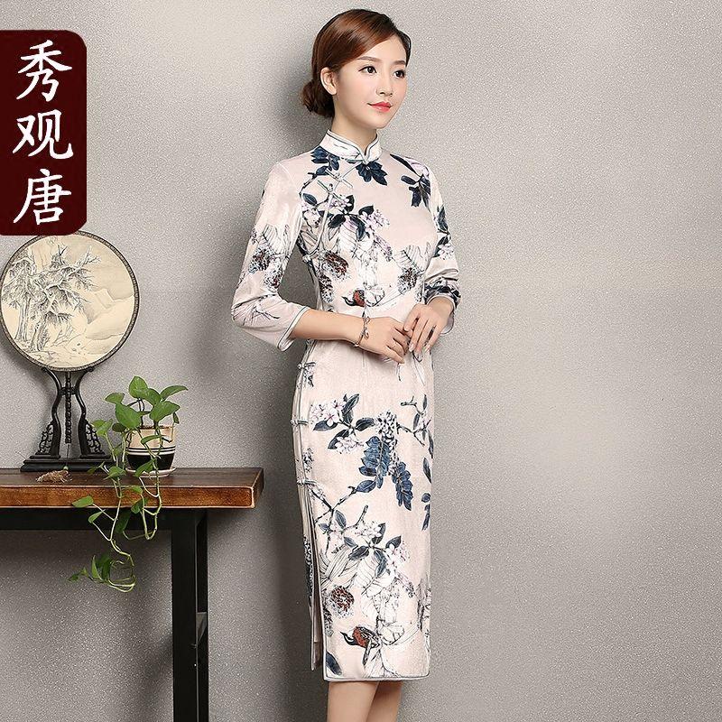 Fabulous Floral Print Velvet Cheongsam Qipao Dress
