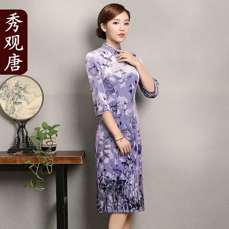 Elegant Floral Print Velvet Qipao Cheongsam Dress