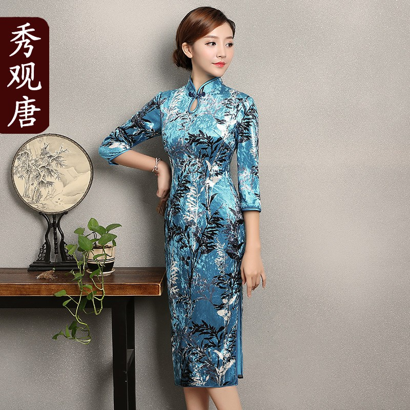 Gorgeous Floral Print Velvet Cheongsam Qipao Dress